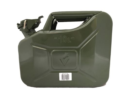10 LITRE FUEL CAN HEAVY DUTY GREEN METAL JERRY PETROL FUELCAN