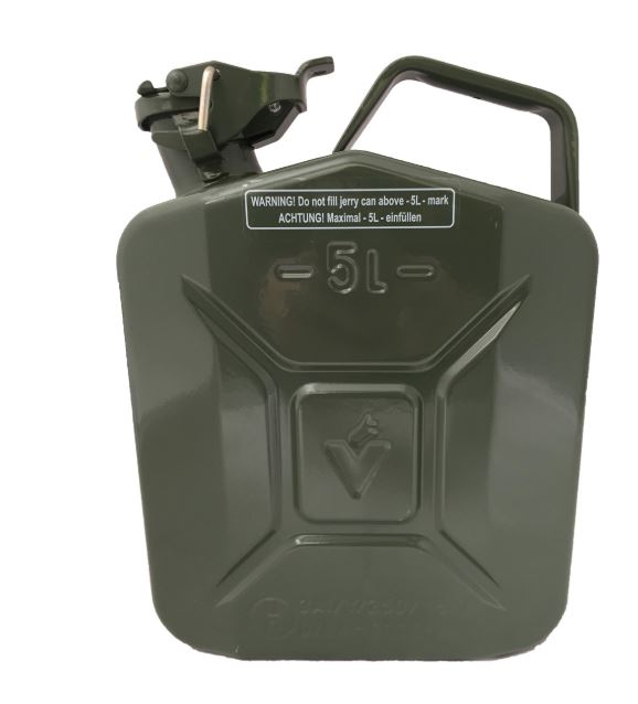 5 LITRE FUEL CAN HEAVY DUTY GREEN METAL JERRY PETROL FUELCAN