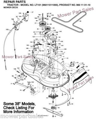 Craftsman Cutter Deck Drive Belt Kevlar Fits 38 Side Discharge Models Lt1000 Replaces 193214 609 P on kohler wiring diagram manual