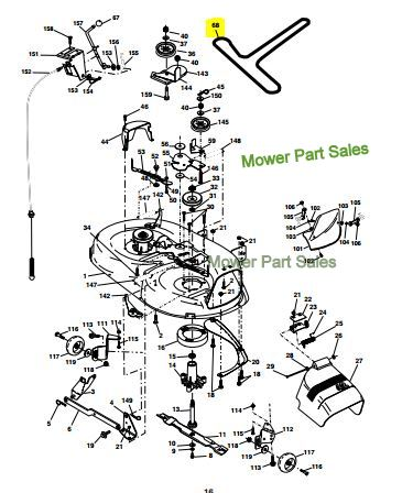 OMM145864 I111 as well T24882563 Replace drive belt la145 likewise Scotts Riding Lawnmower John Deere Belt Diagram 389806 furthermore Mtd 13an772g308 Lawn Tractor Belt Diagram 713816 together with Husqvarna Hydro Transmission Drive Belt Kevlar Cth155 Cth163t Cth171 Cth173 Cth182 Replaces 532170140 153 P. on mower deck parts