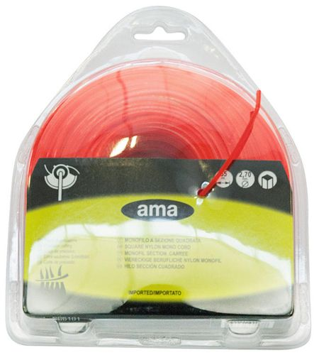 SQUARE BRUSHCUTTER STRIMMER CORD LINE Ø2.4MM X 67 METERS. MADE IN ITALY