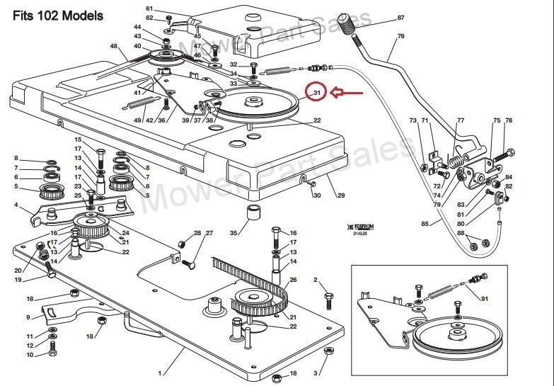 Deck 41 Mulch as well AYP 175067 Mower Deck Engagement Cable For Craftsman 42 Mower p 30066 also Peerless Transaxle additionally Mower Deck further Troy Bilt Tiller Parts. on husqvarna deck belt diagram